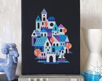 Blue Village - Satsuma Street modern cross stitch pattern PDF - Instant download