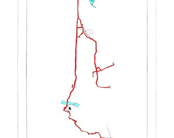 London Cycling Map Print: Route from Tottenham to Goldsmiths, New Cross via Hackney