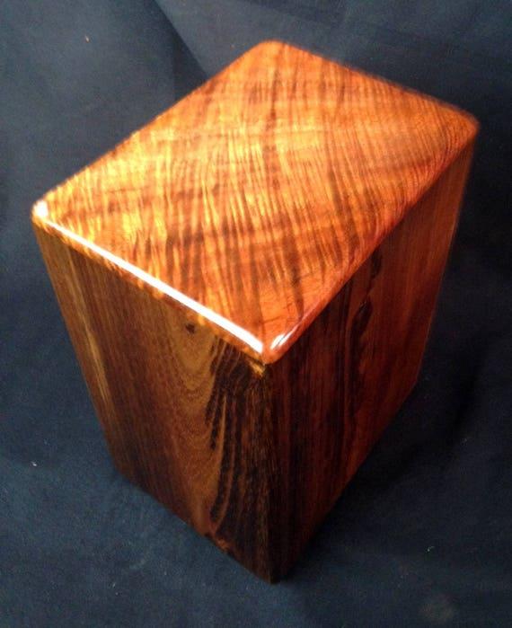 """Large Curly Hawaiian Koa Memorial Cremation Urn... 7""""wide x 5""""deep x 9""""high Wood Adult Cremation Urn Handmade in Hawaii LK090817-B"""