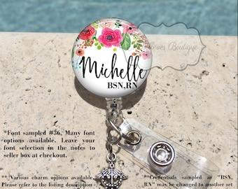 Retractable Badge Holder, Watercolor Floral Personalized Badge Reel, Name Badge Reel, Nurse Badge Reel, Badge Holder, MB424