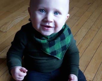 Green Plaid Bib | Buffalo Plaid Bib | Plaid Bibdana | Baby Boy Bib | Boy Bibdana | Handmade Baby Bib | Teething Bib | Drool Bib | Dribble Bi