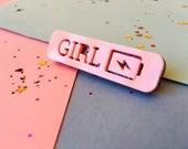 Girl Power - Girl Power Jewellery - Girl Power Pin - Feminist Jewellery - Girl Power Brooch - Pink Brooch - Grl Pwr - Laser Cut Brooch