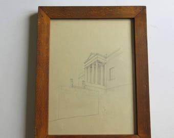 antique original drawing, detail of the Greek parliament on Syntagma square, Athens, Greece, framed