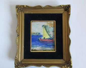 antique original watercolor painting, seascape, framed and signed