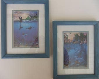 Set of 2 Underwater Fantasy Prints by David Miller Double Matted in Blue Frames