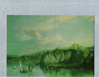 Culzean Castle from the Sea 18th Century Painting of Boats below Cliffs and a Scottish Castle by Alexander Nasmyth