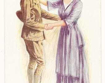 Archie Gunn Soldier and Mother Postcard, c. 1917