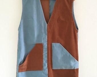 "SALE CODE ""150FF"" | 60s mod color block dress / 60s corduroy dress / mod shift dress / medium"