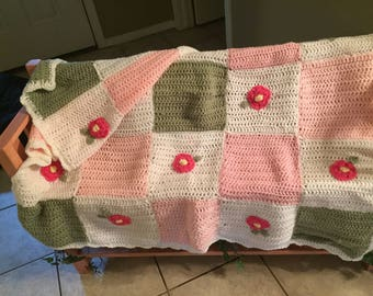 Patchwork and Flowers Afghan