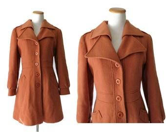 60s Coat Jacket 1960s Mod Coat Burnt Orange Size Small 1970s 70s Classic Style Outerwear Terra Cotta