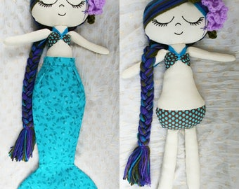 Mermaid doll with detachable tail