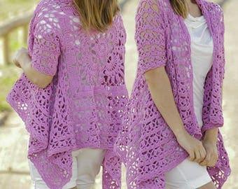 Women's Lacy Jacket, Short Sleeve Crochet Summer Sweater, Plus sized Crochet Cover Up, Handmade Sweater, Handmade Jacket, Lacy Jacket