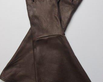 Dark Brown Deerskin Leather Long Cuff Gauntlet Gloves - Made in the USA