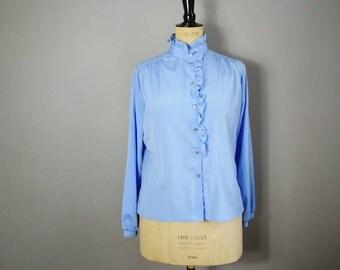Light blue ruffle blouse / vintage work blouse / ruffle shirt / blouse with pie crust collar / pastel blue shirt / 80s blouse UK 12