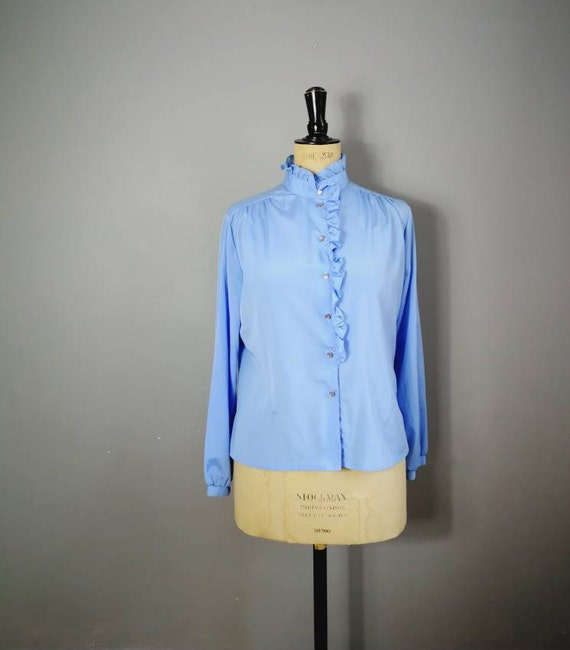 Light blue ruffle blouse / vintage work blouse / ruffle shirt / blouse with pie crust collar / pastel blue shirt / 80s blouse UK 12