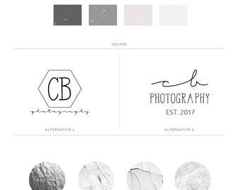 Premade Logo Design Package, Logo Branding Kit, Initials Logo Set, Calligraphy Logo, Boutique Logo Watermark Photography, Shop Logo, s129