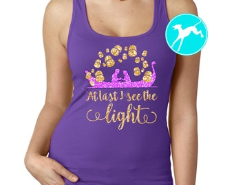 Disney Tangled Rapunzel Floating lights lanterns Glitter see the light Shirt kids Tank top vacation Dri Fit Youth Toddler Baby Girls