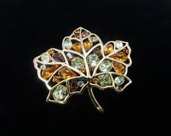 Stunning Nolan Miller leaf brooch=beautiful amber topaz crystal pin=maple leaf pin=crystal leaf brooch=gold and crystal Nolan Miller pin