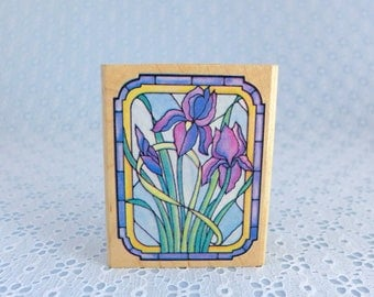 Stained Glass Iris Stamp, by Rubber Stampede, Wood Mounted Rubber Stamp, Stained Glass Window, Flower Stamp, Paper Stamping, Card Making