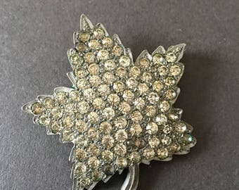 VINTAGE BROOCH PIN Art Deco Clear Paste Rhinestone Leaf Design