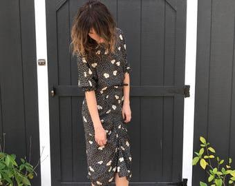 80's B&W Print Ruched Midi Dress