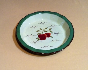 Large Circle Serving Platter, Pie Plate - Home Interior Apple Orchard Collection, Hand Painted Earthenware - Country Home, Cottage Chic