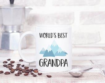 World's Best Grandpa Mug with Mountains, Grandpa Birthday Gift