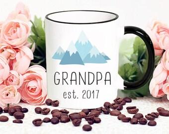 Grandpa Mug, Grandpa Established 2017 Mountain Mug