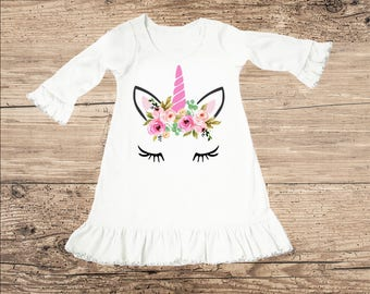 Unicorn Dress with Flower Crown, Ruffle Baby Clothes