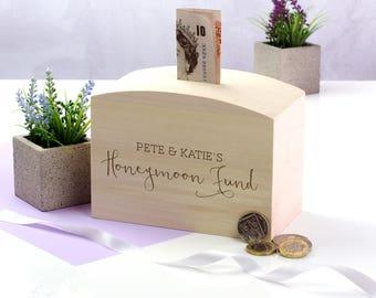 Wooden Money Box - Honeymoon Fund - Personalised Money Box - Honeymoon Gifts - Gift For Couple Engagement - Money Bank - Money Box - LC091