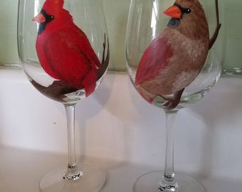 Cardinals wine glasses, hand painted