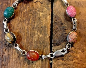 Scarab Beatle Bracelet Sterling Silver Multi Gems  Carved