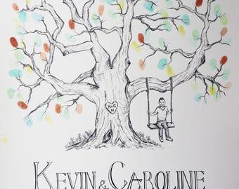 "Personalised Custom Hand Drawn Illustrated Wedding Guest Fingerprint Tree 16x20"""