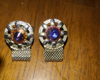 Vintage Iridescent Stone Cuff Links