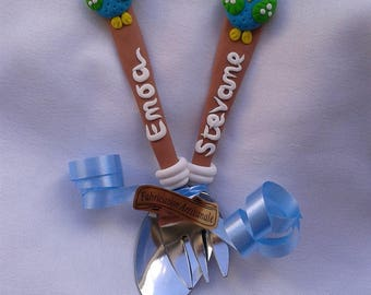 """TO order: My first cutlery customized """"OWL boy"""" in Fimo"""