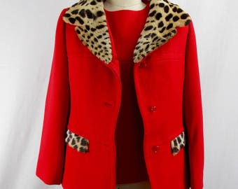 1950's Leopard Collar Red Jacket and Top Jack Feit
