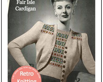 Fair Isle Cardigan 1940's Vintage Knitting Pattern - PDF Instant Download