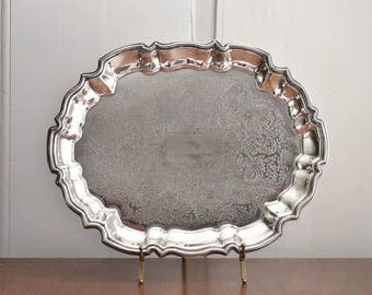 Oval Silver Footed Tray, Leonard Silver Plate Engraved Serving Tray, Scalloped Edge Etched Silver Platter, Wedding Bridal Bar Vanity