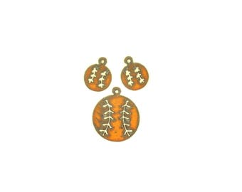 Baseball Rusty Metal Pendant/Charm And Earrings 3-Piece Set