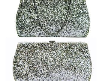 Vintage Evening Bag 1960's Rylo  Silver Glitter Clutch Handbag Wedding Bag Prom Purse Formal Handbag Dressy