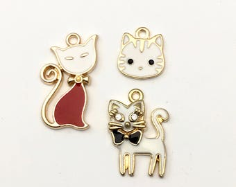 3 cat charms gold and enamel , 15mm to 25mm #CH 174