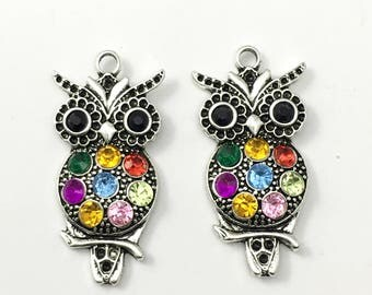 2 owl pendant  antique silver and glass stones,24mm x 48mm # CH 075
