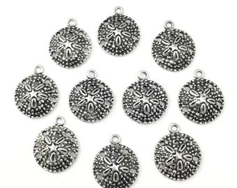10 sand dollar charms antique silver 19mm #CH 253