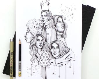Starlight Sisters - Original Ink Drawing / Fashion Illustration / Ink Drawing
