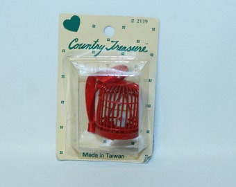 Country Treasure Minature Red Bird Cage with Bird 2139 Made In Taiwan Dollhouse, Shadowbox