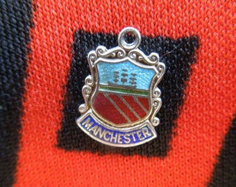 Enamel Silver Manchester Charm Vintage Manchester England Travel Shield Crest Silver Charm for Bracelet from Charmhuntress 04678