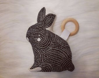 Bunny Teether. Baby Toy. Plushie. Baby Teether. Thicket Fabric. READY to SHIP