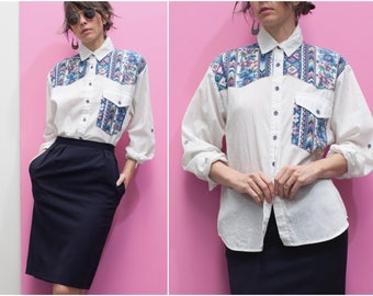1980s 90s White & Floral Print Western Shirt // Long Sleeve Button Up Cowgirl Shirt sz. M / L