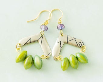 Gold Chevron Vintage Tin Earrings with Purple and Green Beads, Chevron Jewelry, Arrow Earrings