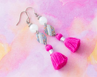Boho Chic Vintage Tin Hot Pink Tassel Earrings with Powder Blue Glass Beads and Antique Silver Beads, Bohemian Jewelry
